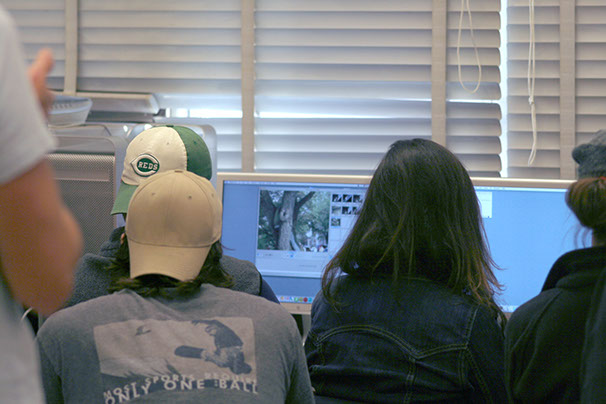 students working collaboratively on a video project at ohio state university