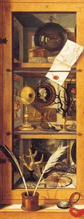 detail from a painting of a curiosity cabinet